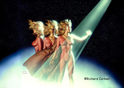 Richard Corben's painting of three women posed in a beam of light with a planet and stars in the background.
