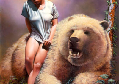 Richard Corben's painting of Dimentia sitting on the bear, Ollie.