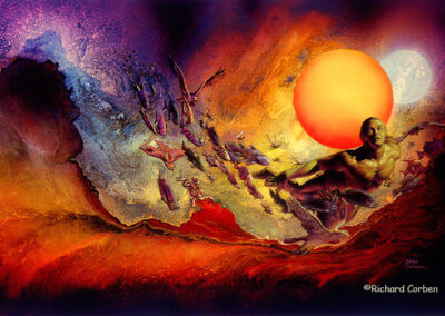 Richard Corben's painting of a man swimming with fish and creatures through the biosphere.