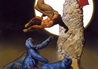 Richard Corben's painting of Den fighting the Boonthas while Kath is climbing to safety up a rocky monolith