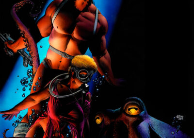 Richard Corben's painting of Den and Kath underwater with an octopus rising behind them.
