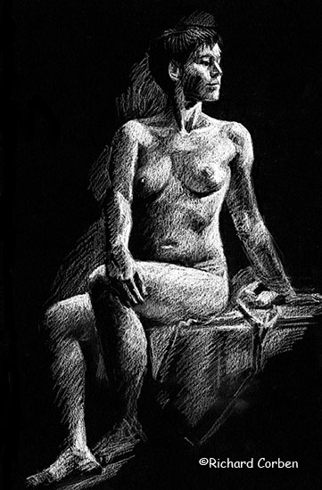 Richard Corben's drawing of a woman sitting on a bench with her upper body turned to the left, her right hand resting on her left knee