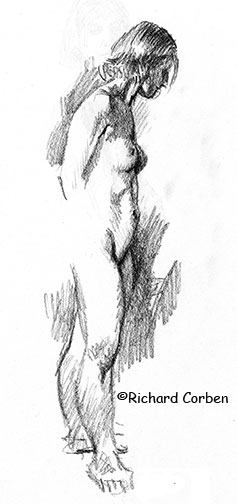Richard Corben's drawing of a woman standing with her arms behind her back her head tilted down and her legs slightly apart with her right foot pointing to the side