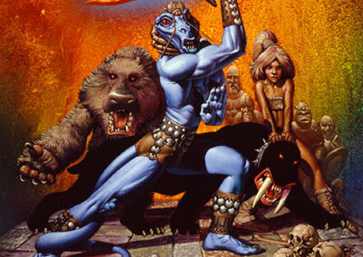 Richard Corben's painting of the Lizard King holding a flaming sword.