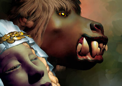 Richard Corben's drawing of Meryphilia and a ghoul.