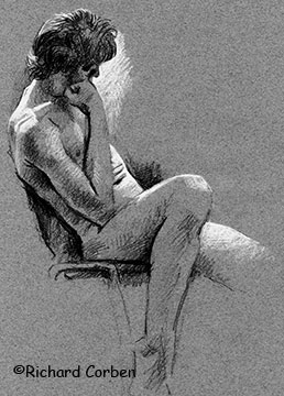 Richard Corben's profile drawing of a man slouching in a chair right knee up and left leg extended his head resting on his right hand