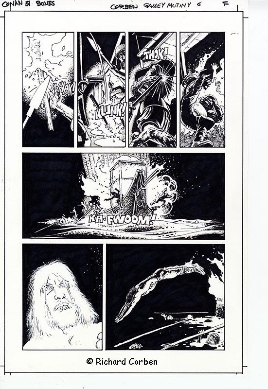 Richard Corben's comic book illustration of the Conan story Bones, Galley Mutiny page 6.