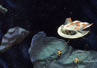 Richard Corben's painting of two astronauts exploring an asteroid.
