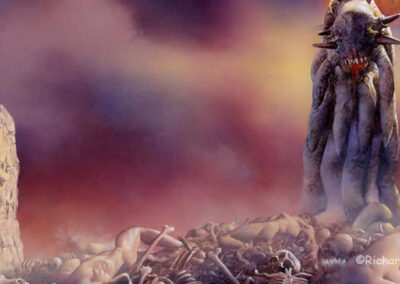 Richard Corben's painting of a tentacled monster standing above dead human bodies and bones.