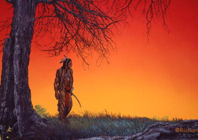 Richard Corben's painting of an Indian man on a sunset lit prairie.
