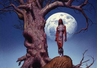 Richard Corben's painting of an Indian woman standing on a buffalo singing to his spirit.