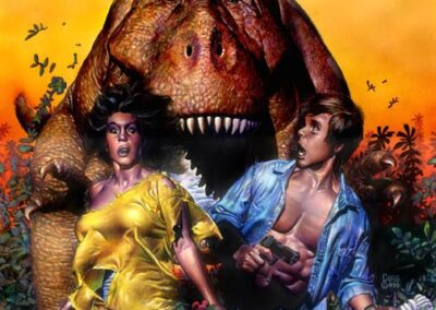 Richard Corben's color cover for Rip in Time showing a man and woman running from a Tyrannosaurus rex.