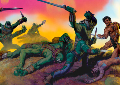 Richard Corben's cover painting of a warrior battling four armed green monsters.