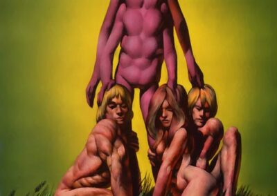 Richard Corben's color cover of three humans kneeling adoringly around the legs of a four armed alien.