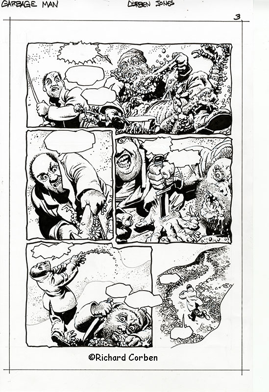 Richard Corben's comic book illustration of the story, Garbage Man, page 3.