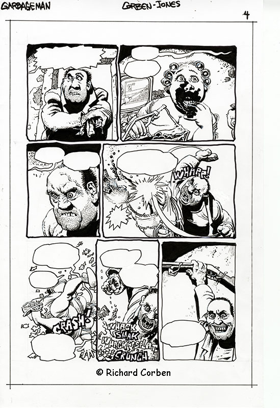 Richard Corben's comic book illustration of the story, Garbage Man, page 4.