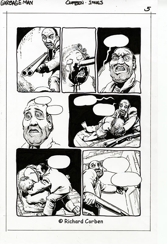 Richard Corben's comic book illustration of the story, Garbage Man, page 5.