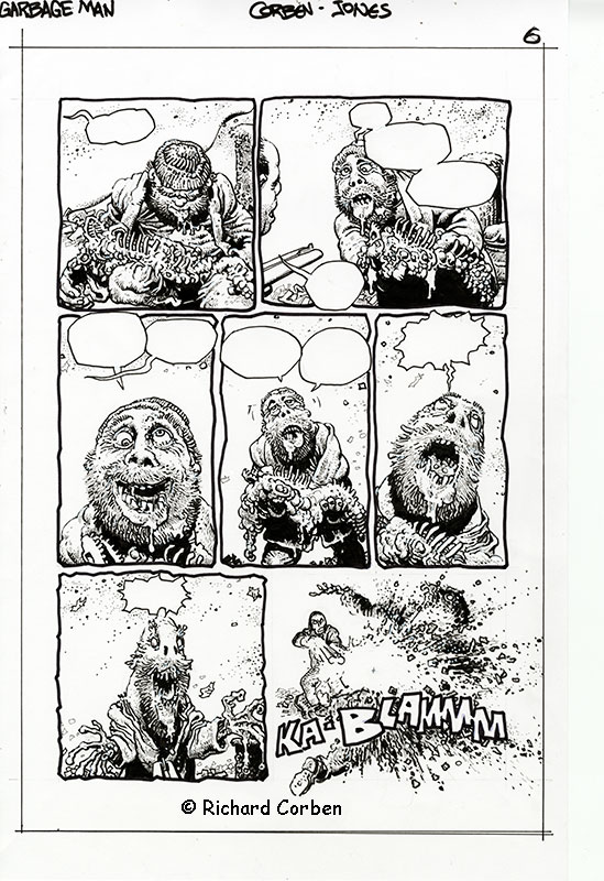 Richard Corben's comic book illustration of the story, Garbage Man, page 6.