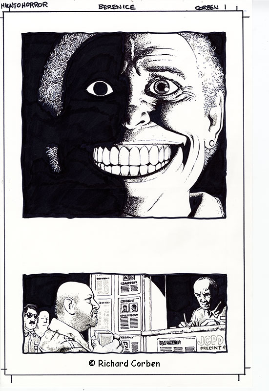Richard Corben's comic book illustration of the story, Bernice, page 1, in the series Haunt of Horror.