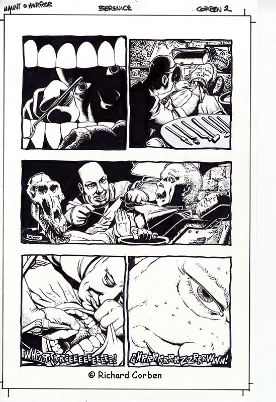 Richard Corben's comic book illustration of the story Bernice, page 2, in the Haunt of Horror series.