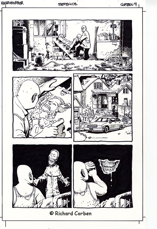 Richard Corben's comic book illustration of the story, Bernice, page 4, in the Haunt of Horror series.