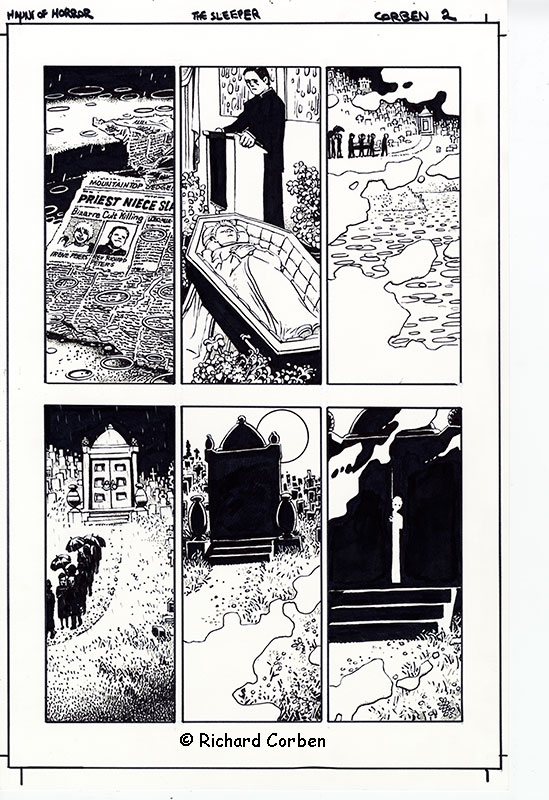 Richard Corben's comic book illustration of the story, The Sleeper, page 2 from the series Haunt of Horror.