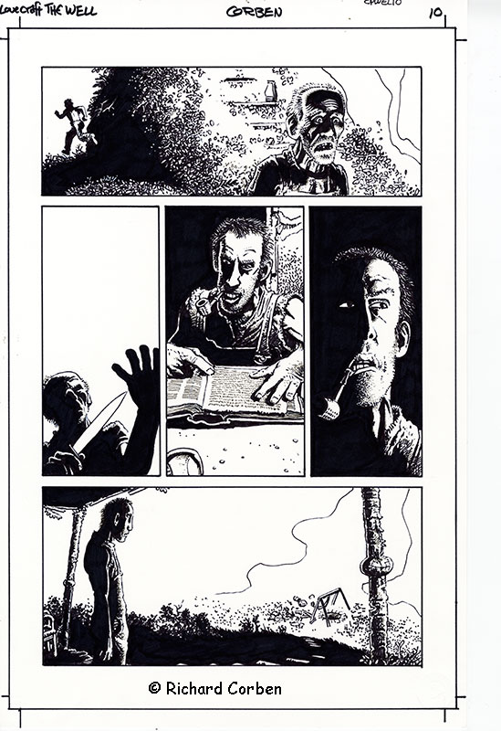 Richard Corben's comic book illustration of the Lovecraft story, The Well, page 10.