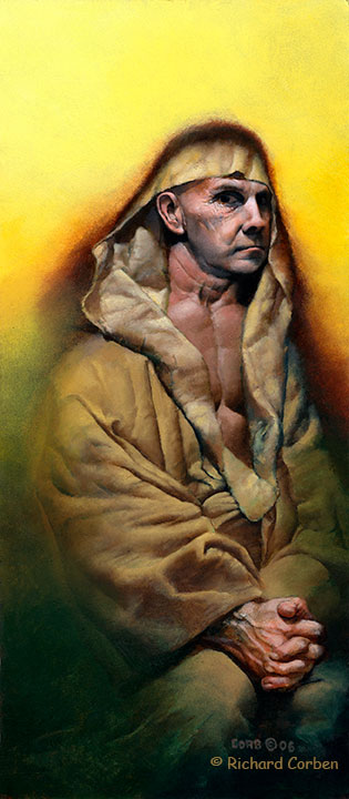 Richard Corben's self portrait painting wearing a robe.