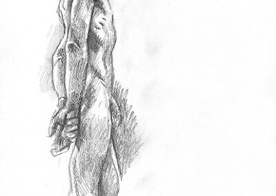 Richard Corben's figure drawing of a man in profile, arms behind his back.
