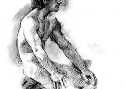 Richard Corben's figure drawing of a male sitting on a bench.
