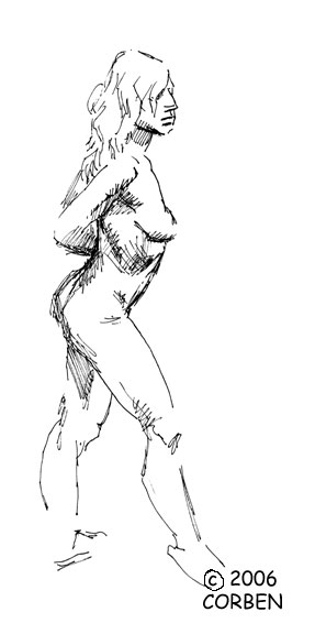 Richard Corben's quick sketch of a female model posing with arms behind her back and right leg forward, back arched.