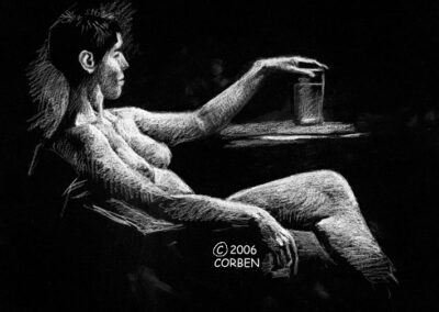 Richard Corben's figure drawing of a female sitting in a chair, her hand resting on a glass on a table.