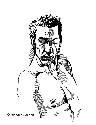 Richard Corben's pen and ink drawing of the upper body of a male model, eyes closed.