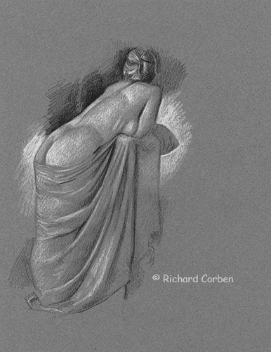 Richard Corben's figure drawing of a partially draped model back and side view.