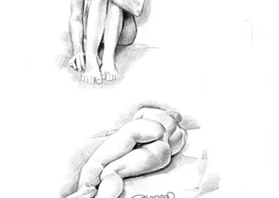 Richard Corben's figure drawings of a female model in a sitting position and a lying down position.