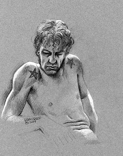 Richard Corben's figure drawing in white, gray and black pencil of a male leaning back in a sloched position.