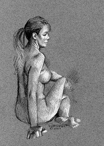 Richard Corben's figure drawing of a female in white, gray and black pencil.