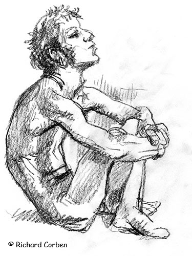 Richard Corben's figure drawing of a man sitting in a curled position on the floor..,