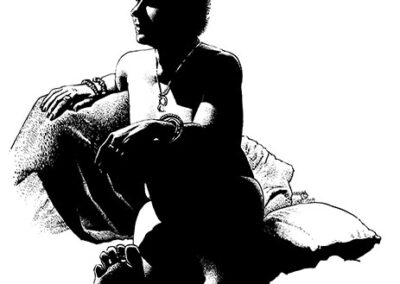Richard Corben's pen and ink drawing of a male figure.